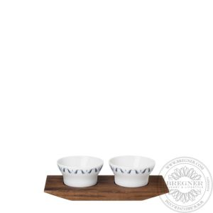 Set of 2 salt/spices dishes on tray 18 cm
