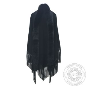Leather fringed cashmere shawl, edged with fur