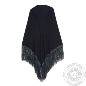 Leather fringed cashmere shawl