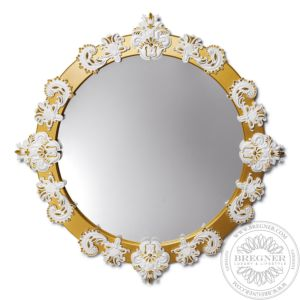 Round Mirror Large (White / Gold)