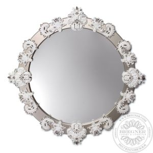 Round Mirror Large (White / Silver)