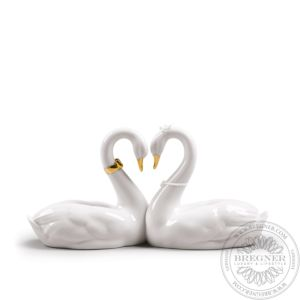 Endless Love Swans Figurine. Golden Luster