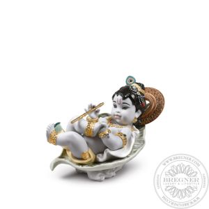 Krishna on Leaf Figurine