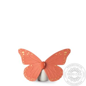 Butterfly Figurine. Golden Luster & Coral
