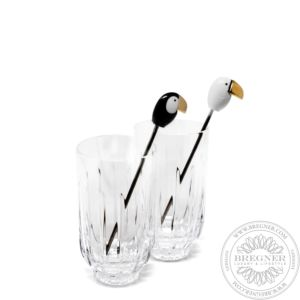 Toucan 2 tall Crystal Glasses + 2 Stirrers Set. Golden Luster