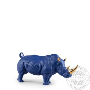 Rhino Sculpture. Blue-Gold. Limited Edition