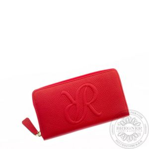 Ladies Leather Zip Around Purse Red