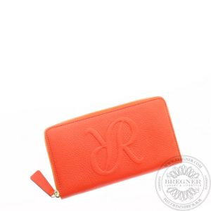 Ladies Leather Zip Around Purse Orange