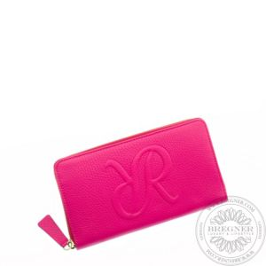 Ladies Leather Zip Around Purse Pink