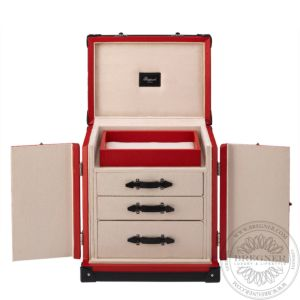 Deluxe Jewellery Trunk, Red Leather