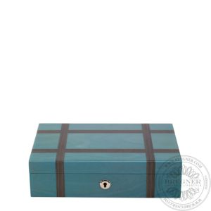 Jewellery Box Grey Blue with Charcoal Stripes