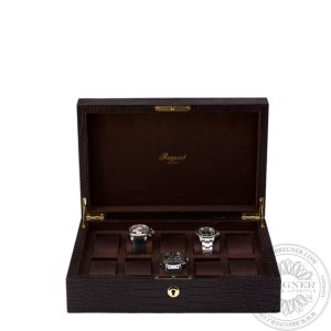 Crocodile Brown Leather 10 Watch Collector Box