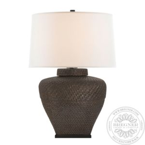 Isla Small Table Lamp In Crystal Bronze With Linen Shade