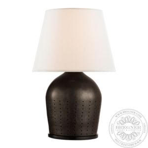 Halifax Large Table Lamp In Black Ceramic With White Paper Shade