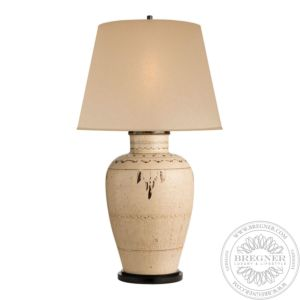 Cabot Large Table Lamp In Brown And White Clayware With Drum Skin Shade