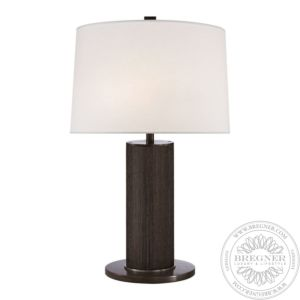 Beckford Table Lamp In Bronze Grasscloth With Linen Shade